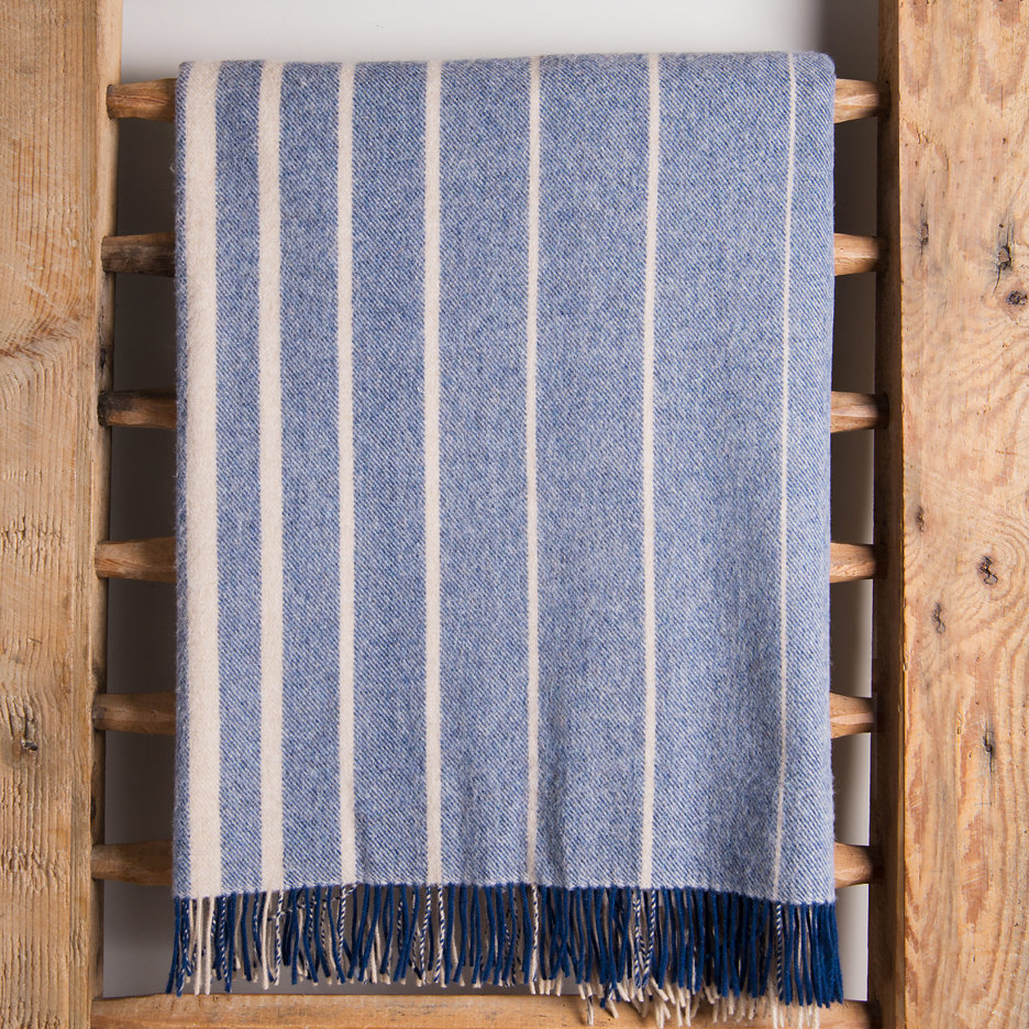 Merino lambswool throw blanket navy biscuit