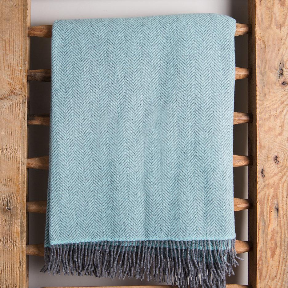 Merino cashmere throw blanket duck egg herringbone