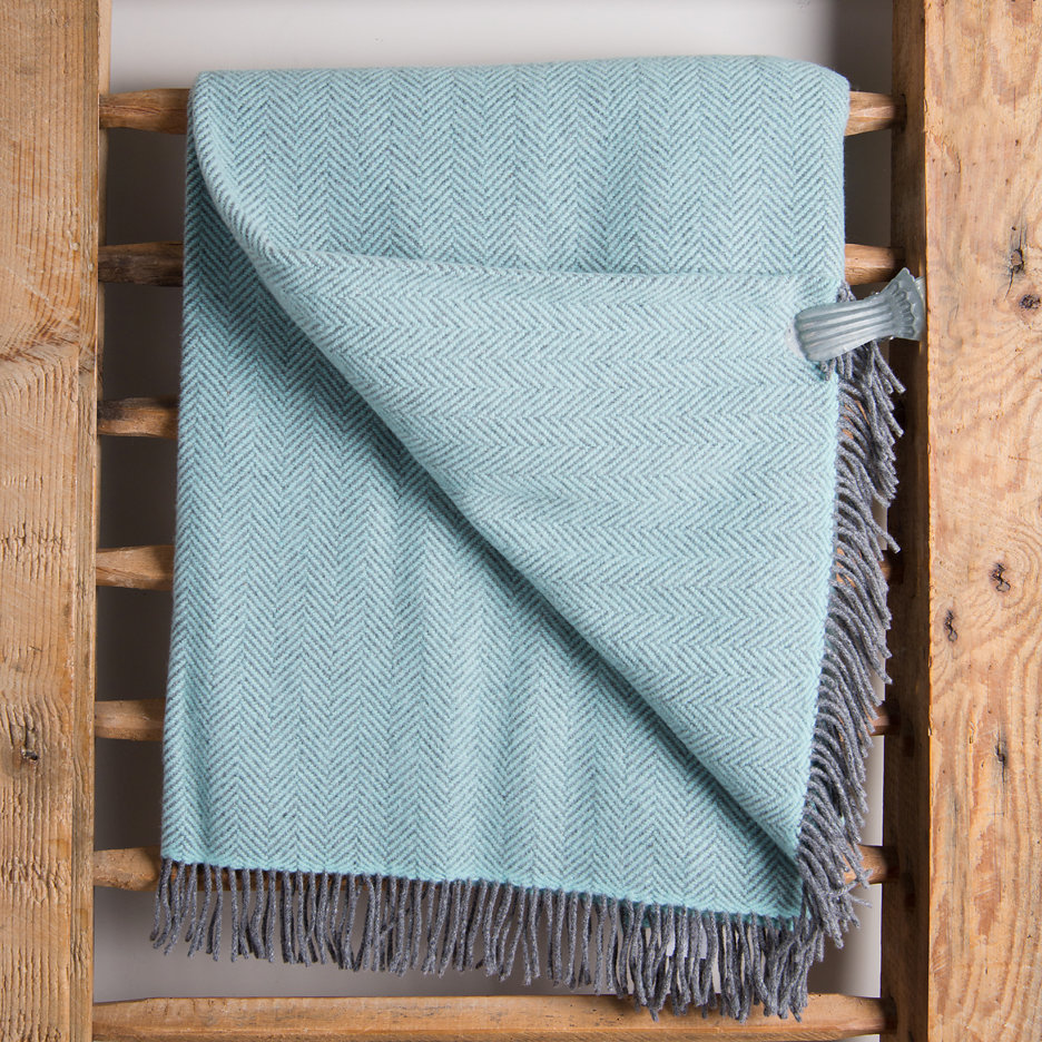 Merino cashmere throw blanket duck egg herringbone