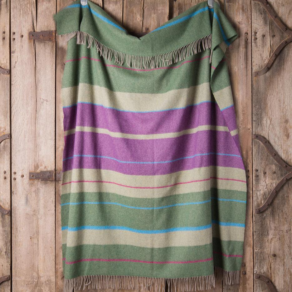 Merino lambswool throw blanket sage and heather