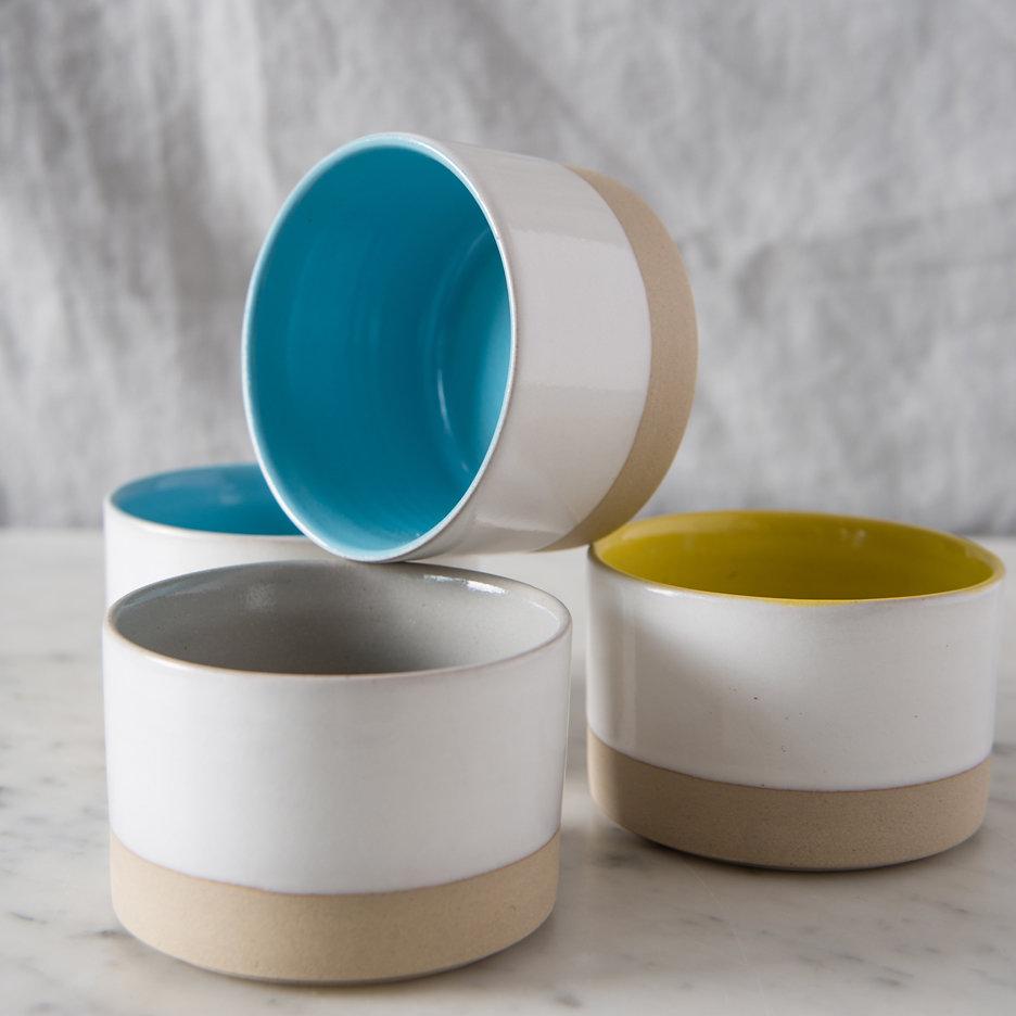 French ceramic stoneware mini bowls handmade