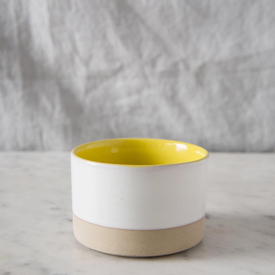 French ceramic stoneware mini bowl handmade canary yellow