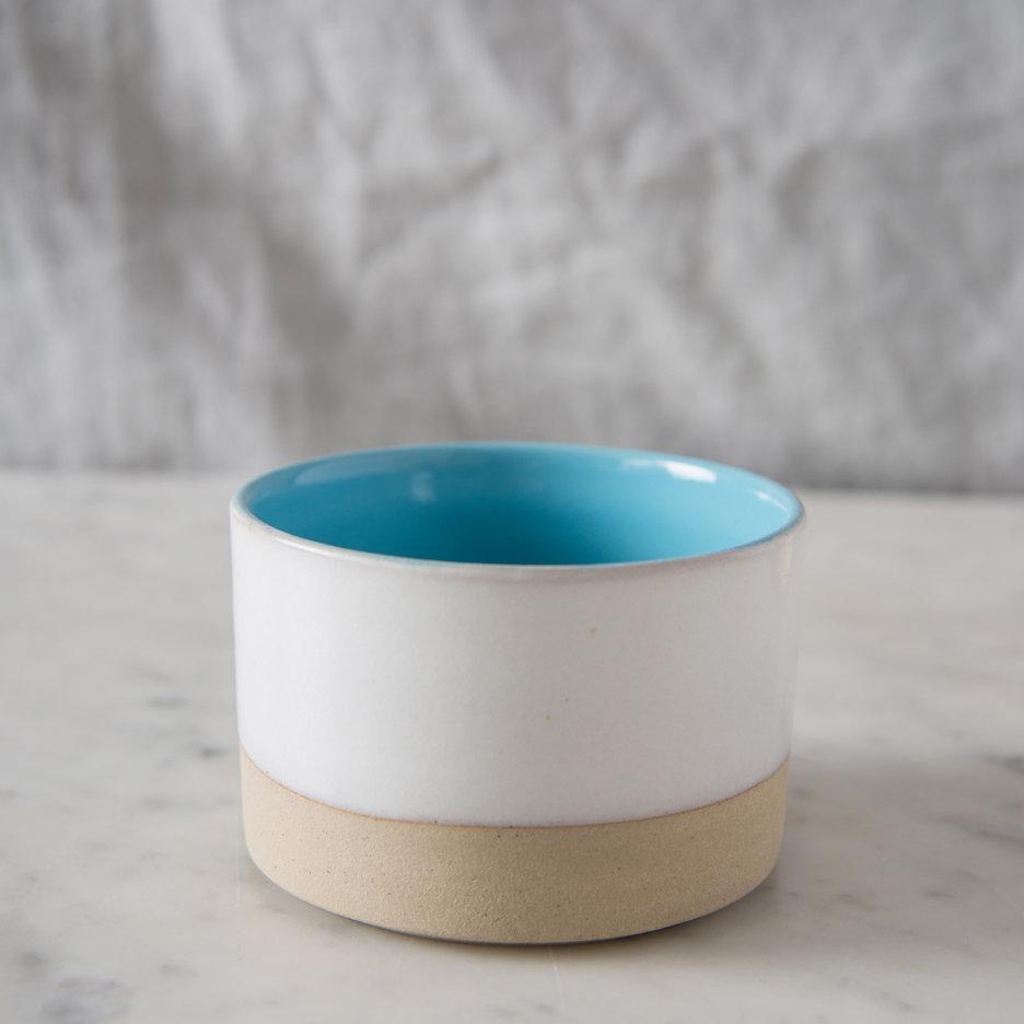 French ceramic stoneware mini bowl handmade sky blue
