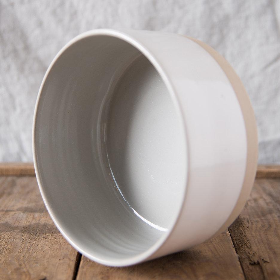 French ceramic stoneware medium serving bowl handmade cool grey