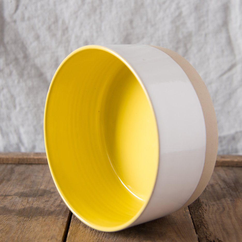 French ceramic stoneware medium serving bowl handmade canary yellow