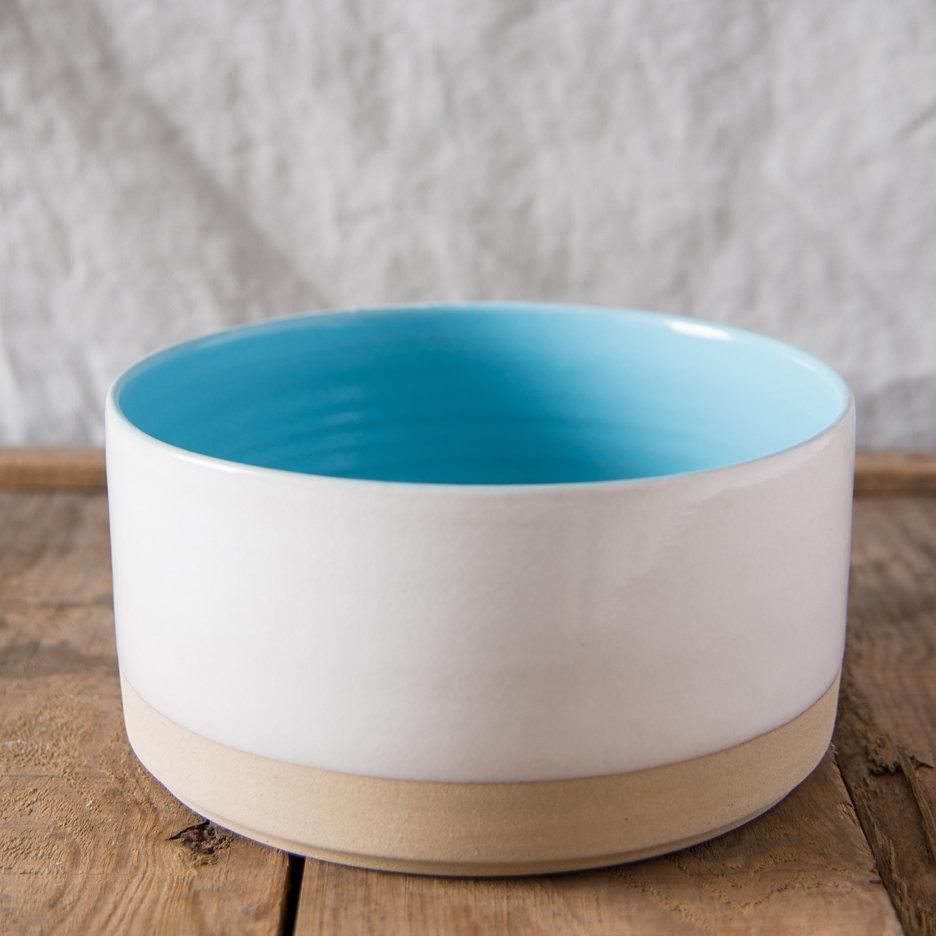 French ceramic stoneware medium serving bowl handmade sky blue