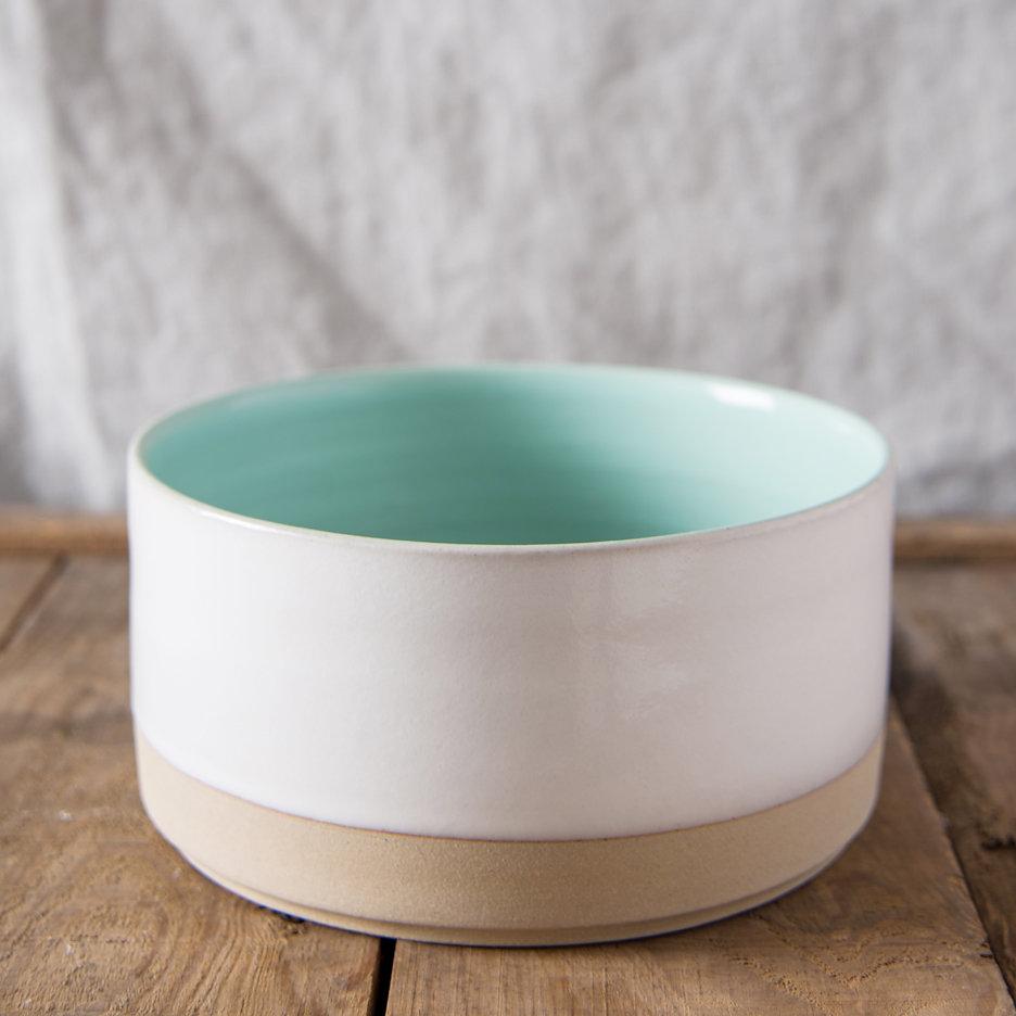 French ceramic stoneware medium serving bowl handmade duck egg