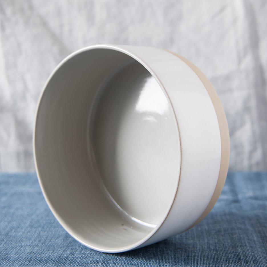 French ceramic stoneware large serving bowl handmade cool grey