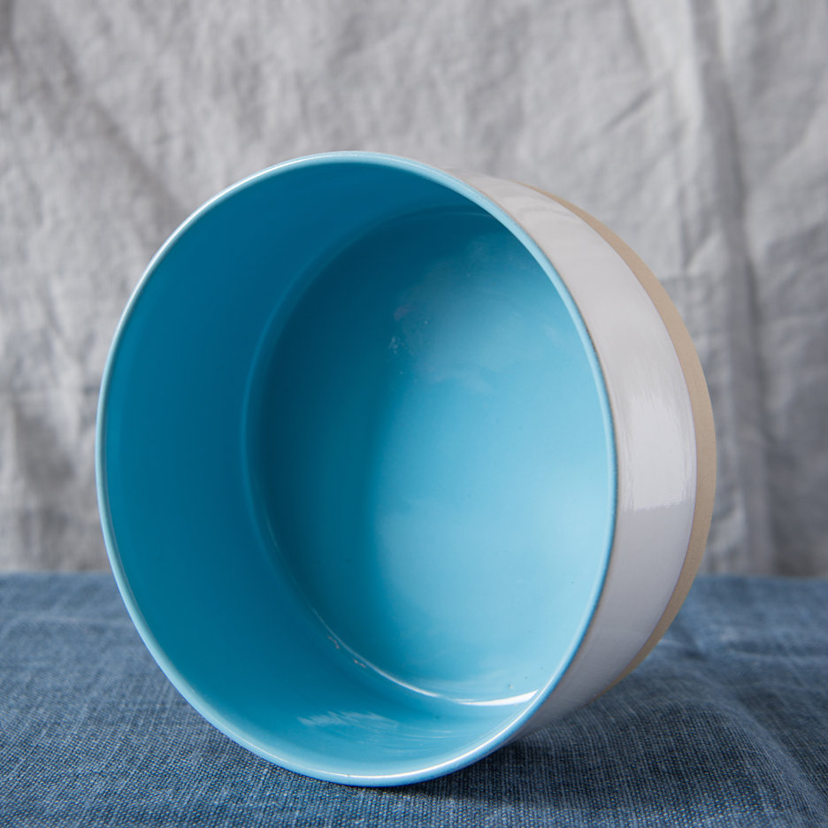 French ceramic stoneware large serving bowls handmade sky blue