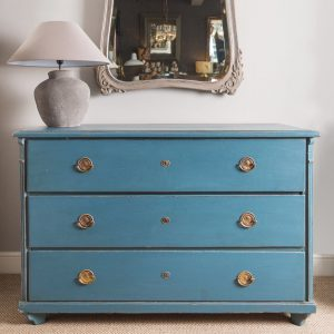 Large antique chest of drawers, airforce blue