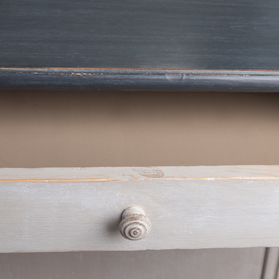 Large grey antique French cupboard