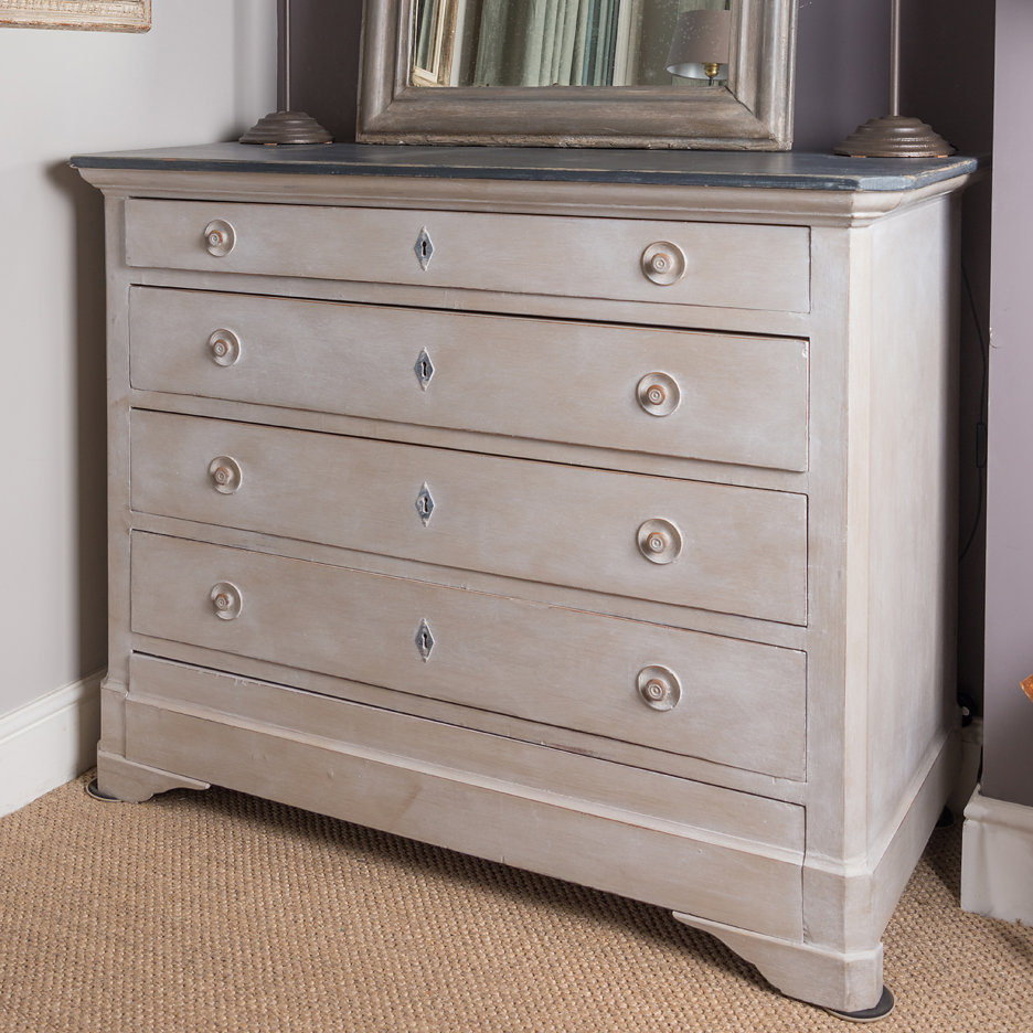 Antique French chest of drawers grey
