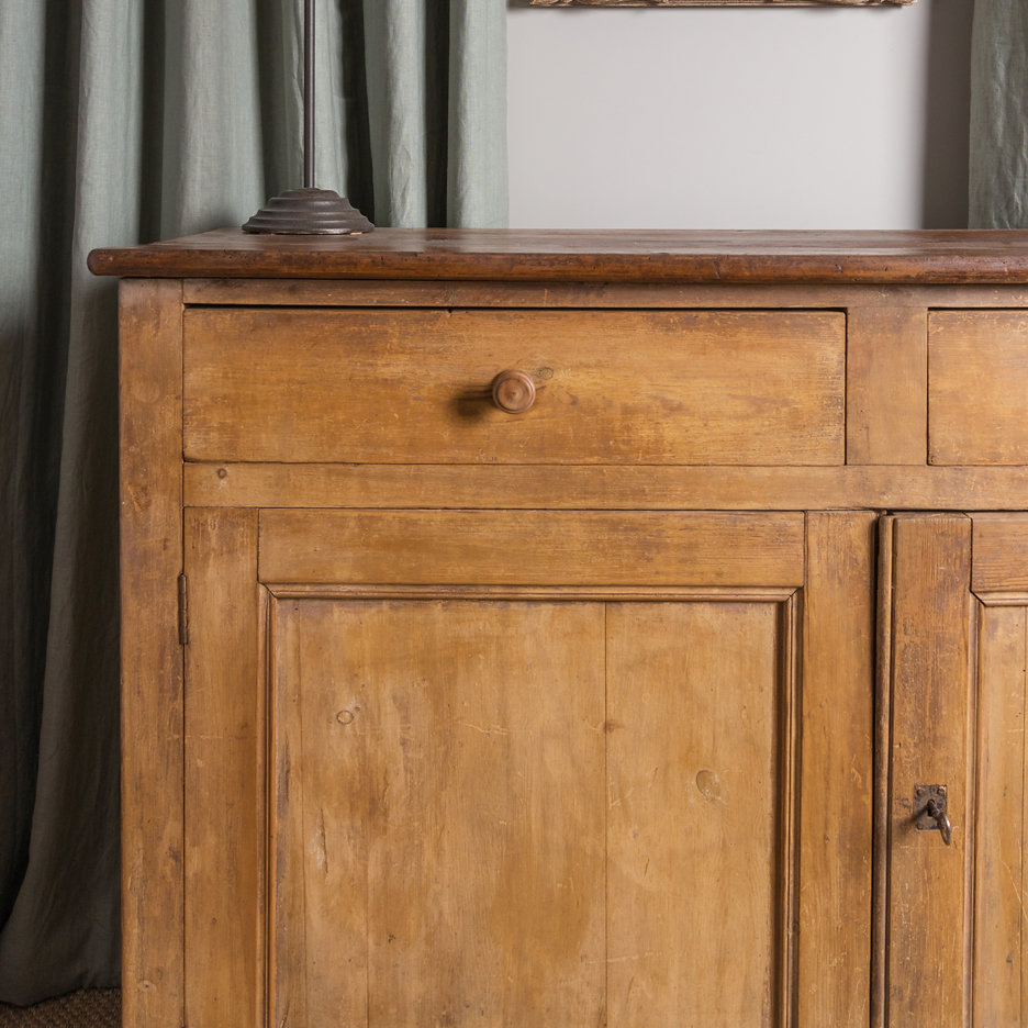 Antique French pine cupboard large