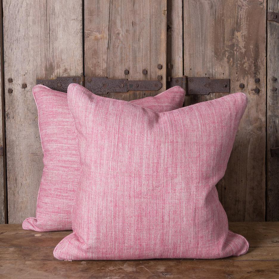 Plain pink linen cushions