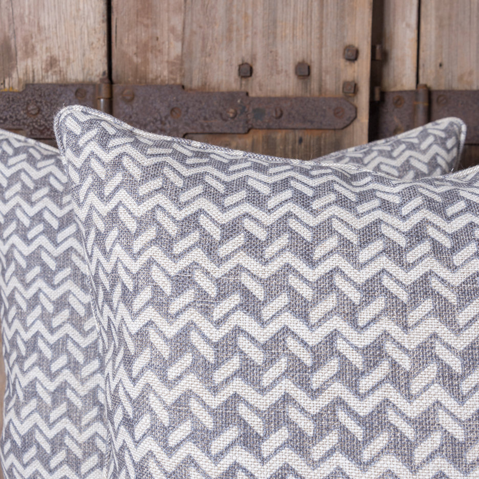 Grey geometric linen cushions