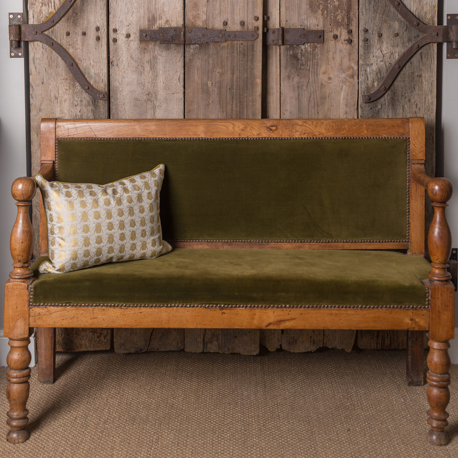 Antique French wooden bench, green velvet
