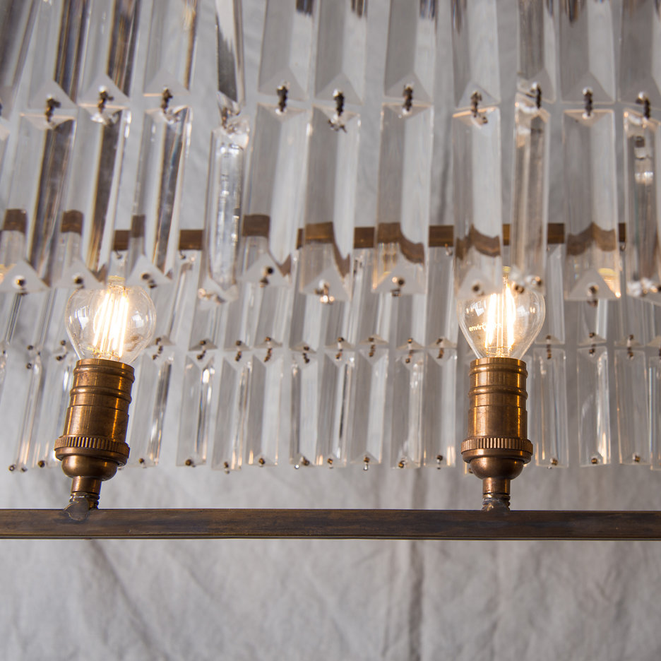 Large contemporary chandelier, antiqued brass and glass