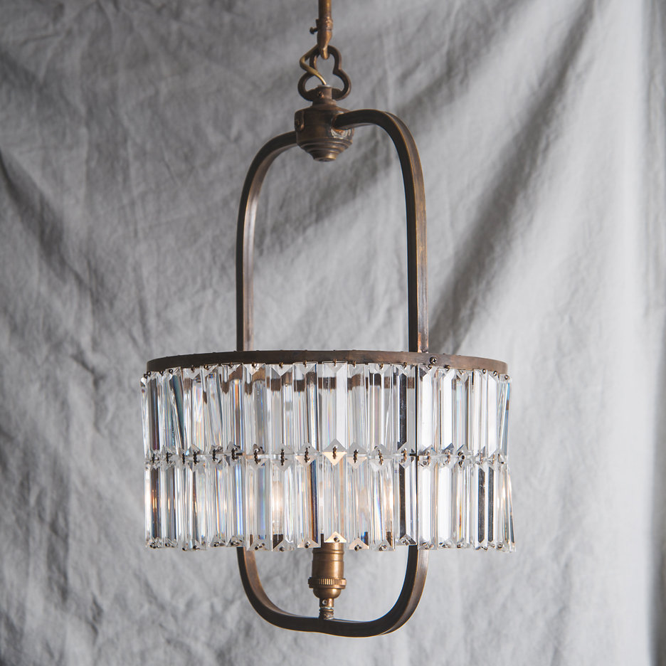 Contemporary round chandelier, antiqued brass and glass