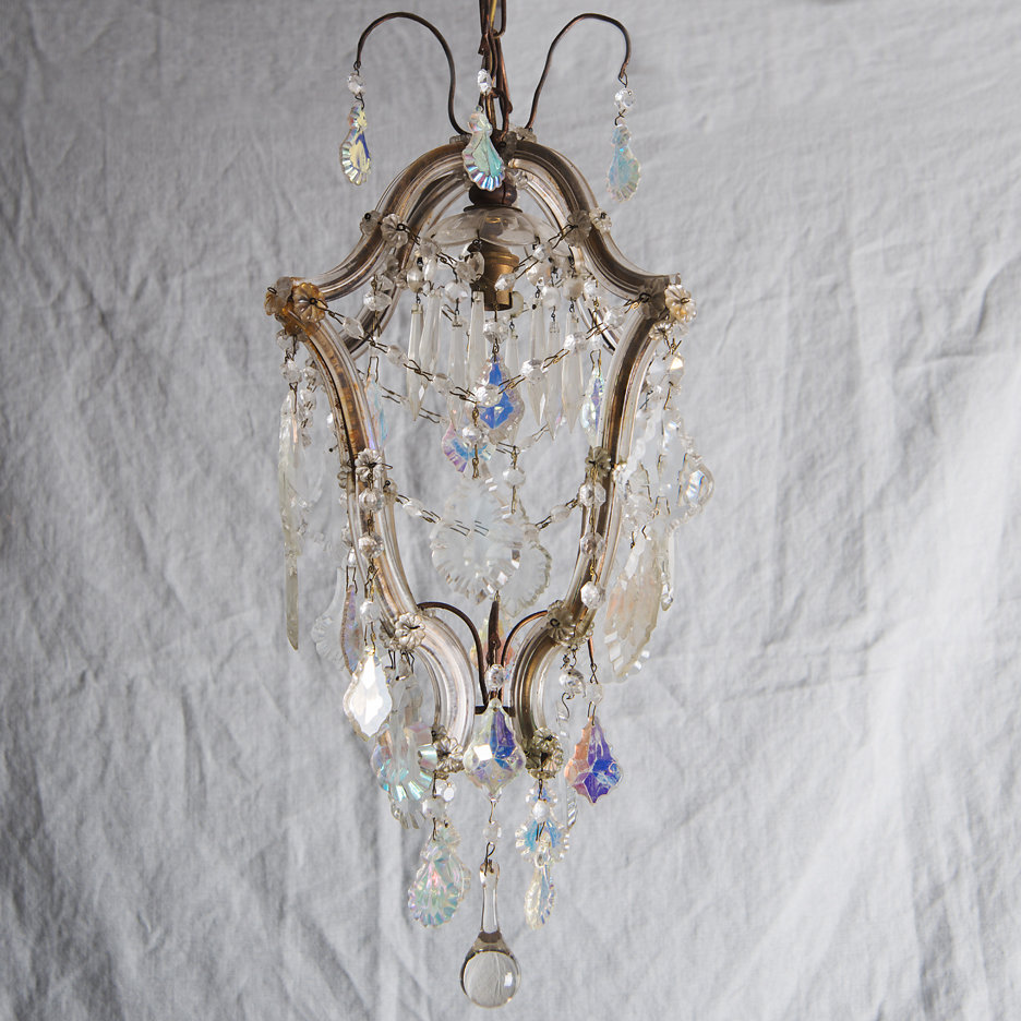 Antique Italian iridescent chandelier