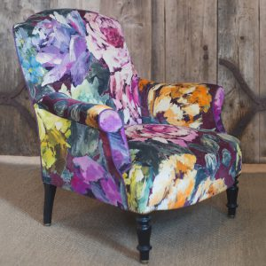 Antique French chair reupholstered in Designers Guild Bloomsbury Rose