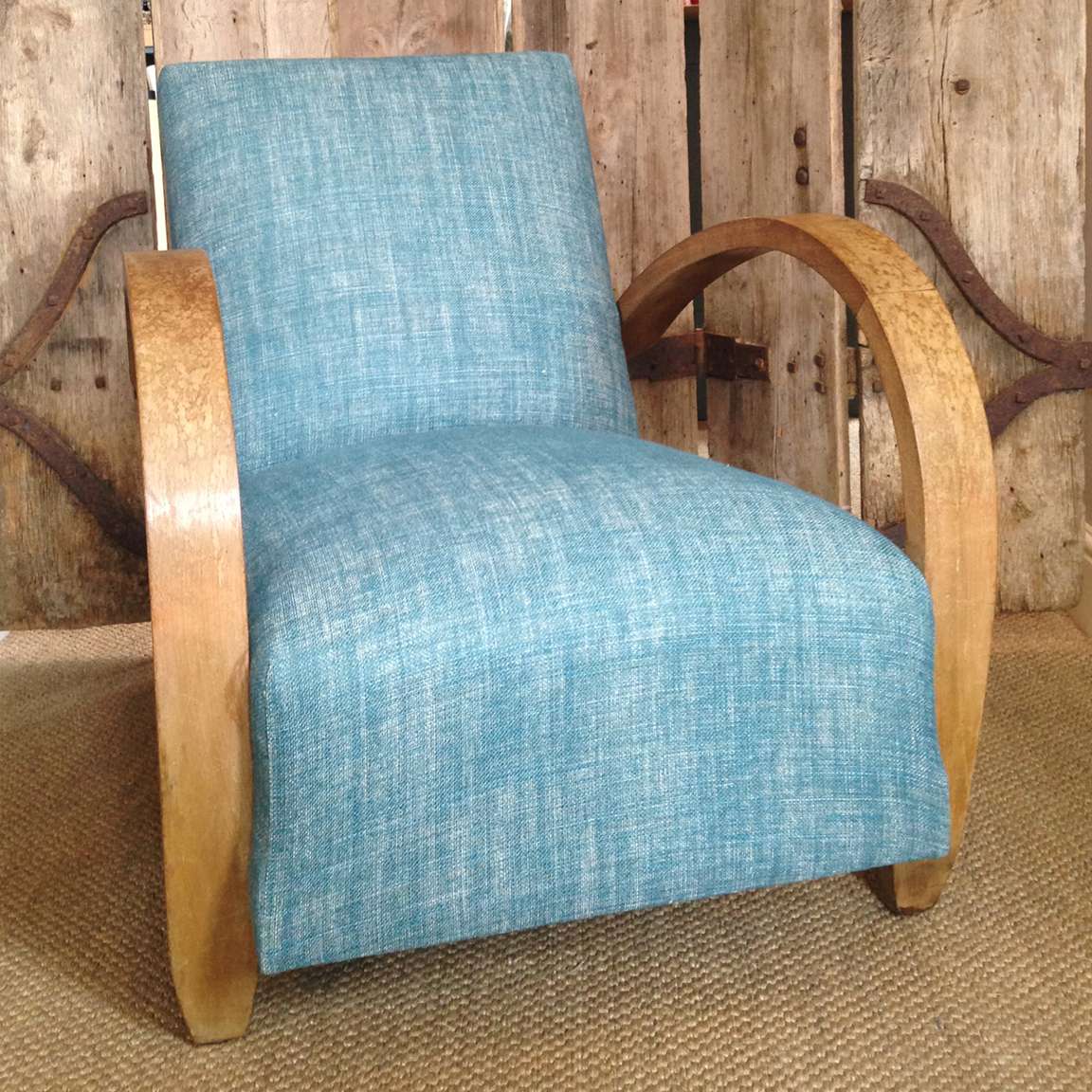 Mid-century French chair reupholstered in Fermoie