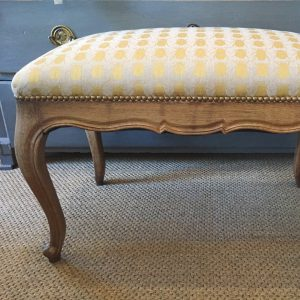 French stool reupholstered in Gold Beetles