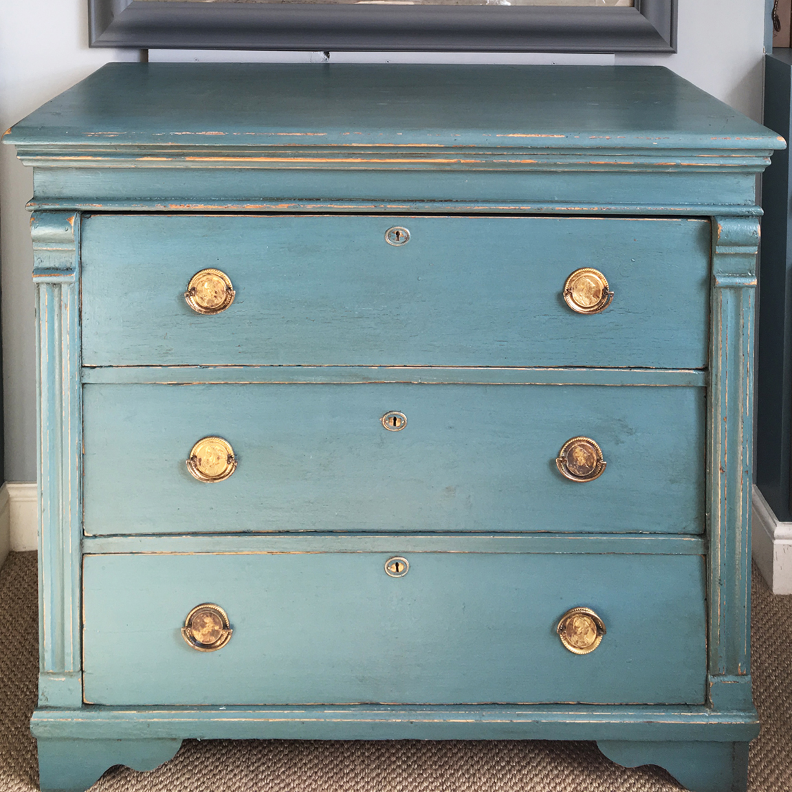 Antique chest of drawers painted teal