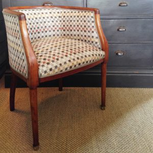 Vintage occasional chair reupholstered in Osborne & Little Brodie