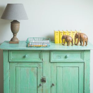 Vintage French cupboard in turquoise green