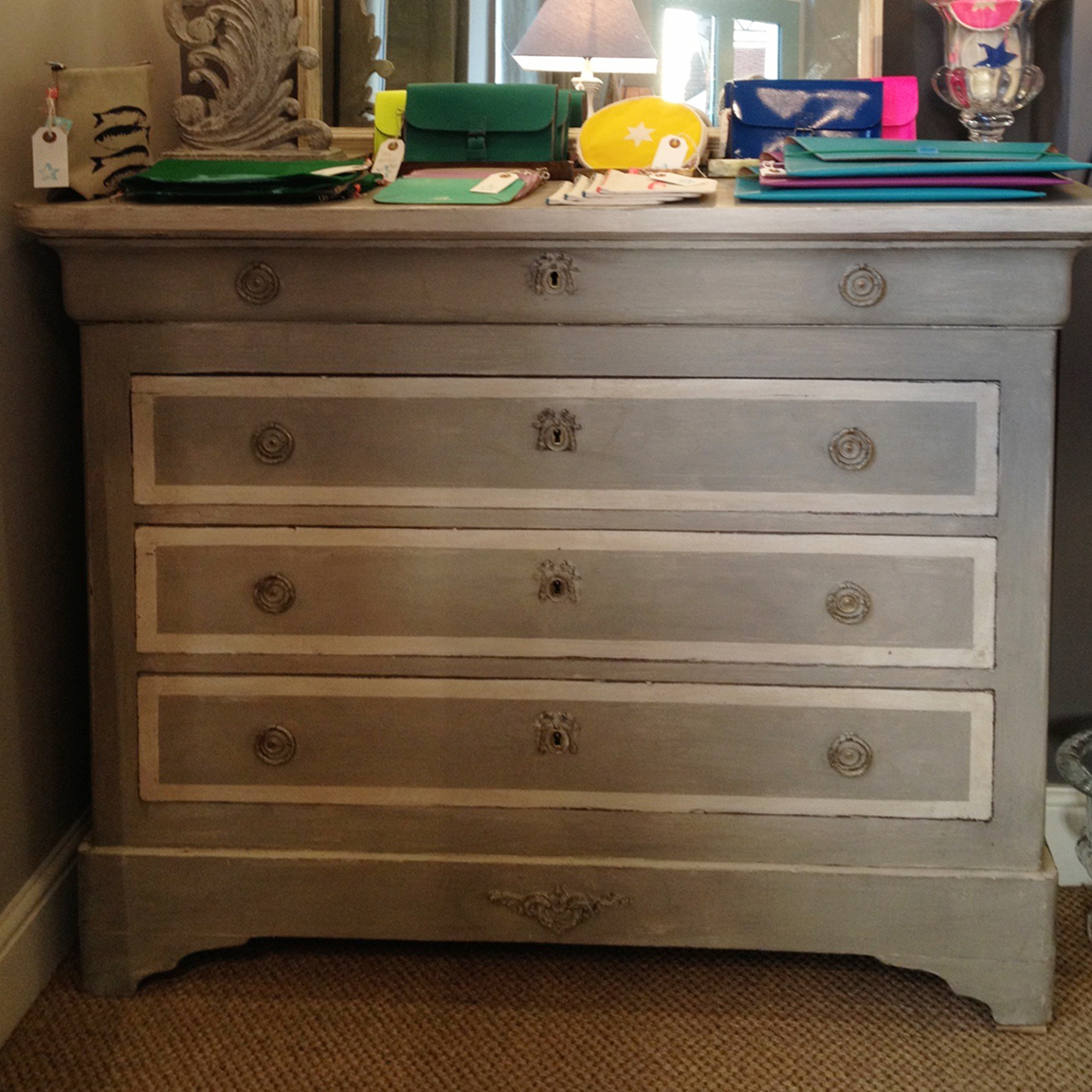 French Chest, painted grey with white detail